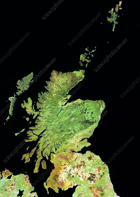 Landsat mosaic of Scotland, pseudo-natural colour