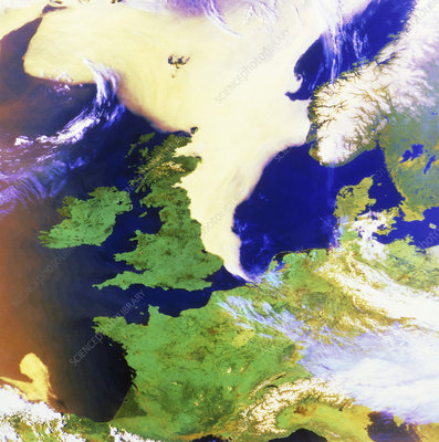 NW Europe, showing fog bank in North Sea