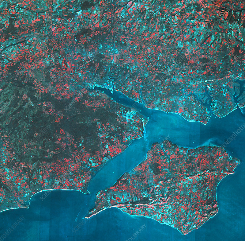 SPOT-1 image of Hampshire, Isle of Wight