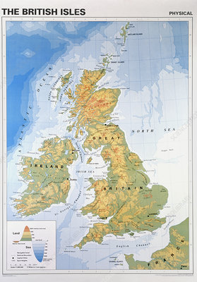 Physical geography map of the British Isles