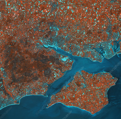 Infrared satelliteimage of the Isle of Wight