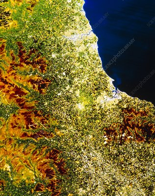 True-colour satellite image of north-east England