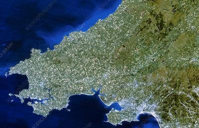 Satellite image of southwest Wales