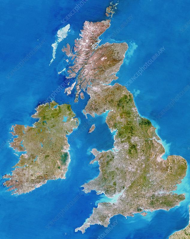 True-colour satellite image of the British Isles