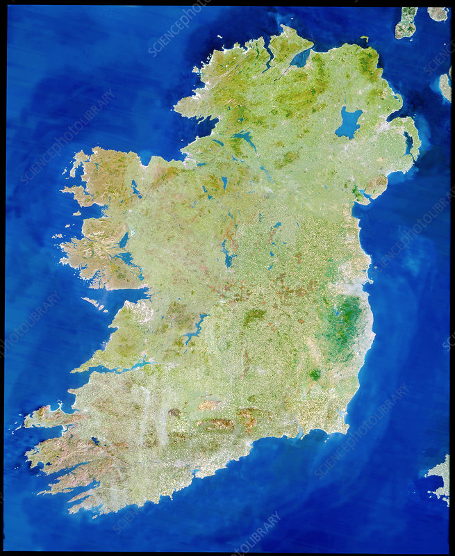True-colour satellite image of Ireland