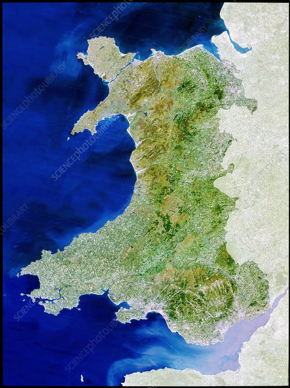 True colour satellite image of Wales