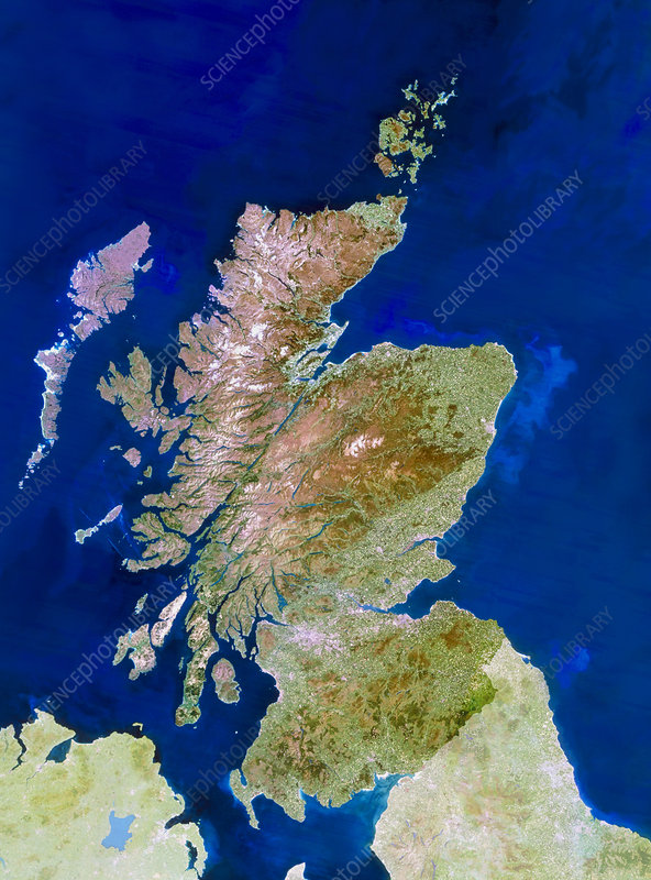 Satellite image of Scotland