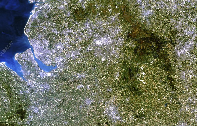Satellite image of Liverpool and Manchester, UK