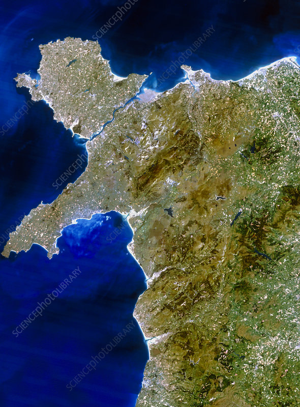 True colour satellite image of northwest Wales
