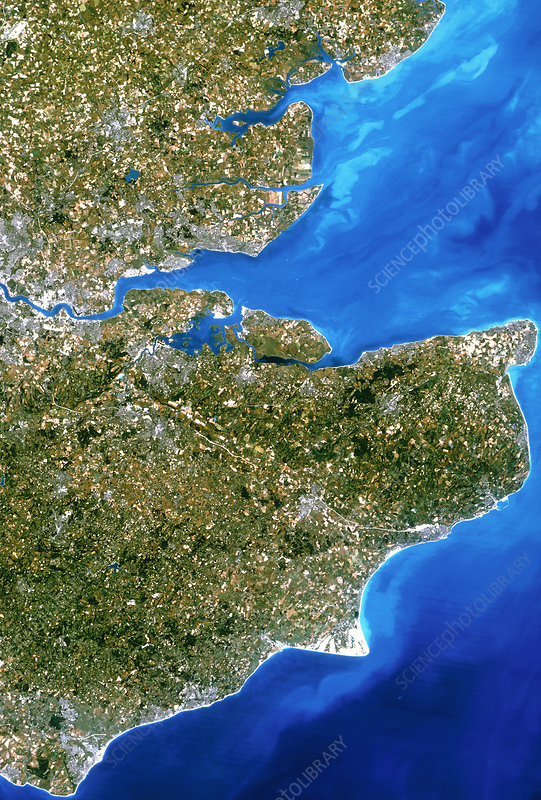 True-colour satellite image of southeast England