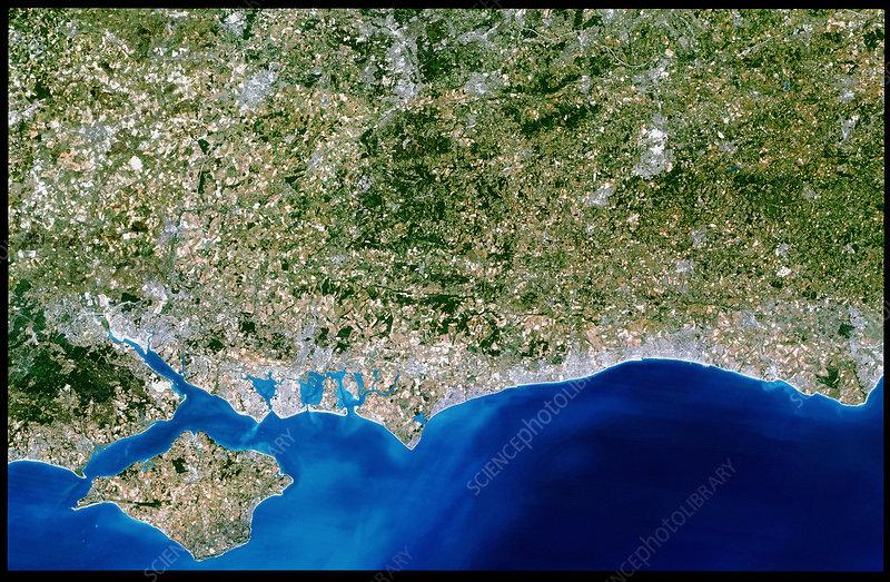 True-colour satellite image of Hampshire