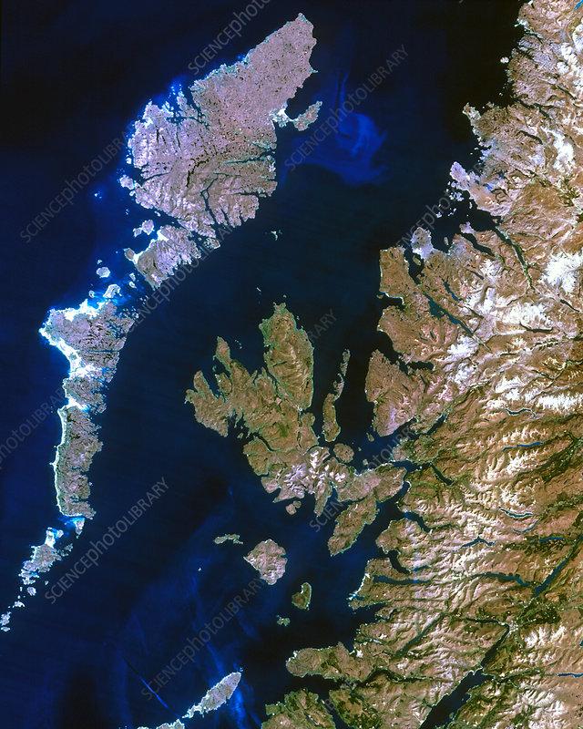 True-colour satellite image of northwest Scotland