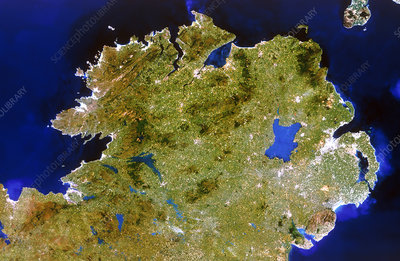True-colour satellite image of Ulster, Ireland