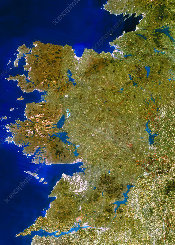True-colour satellite image of Connaught, Ireland