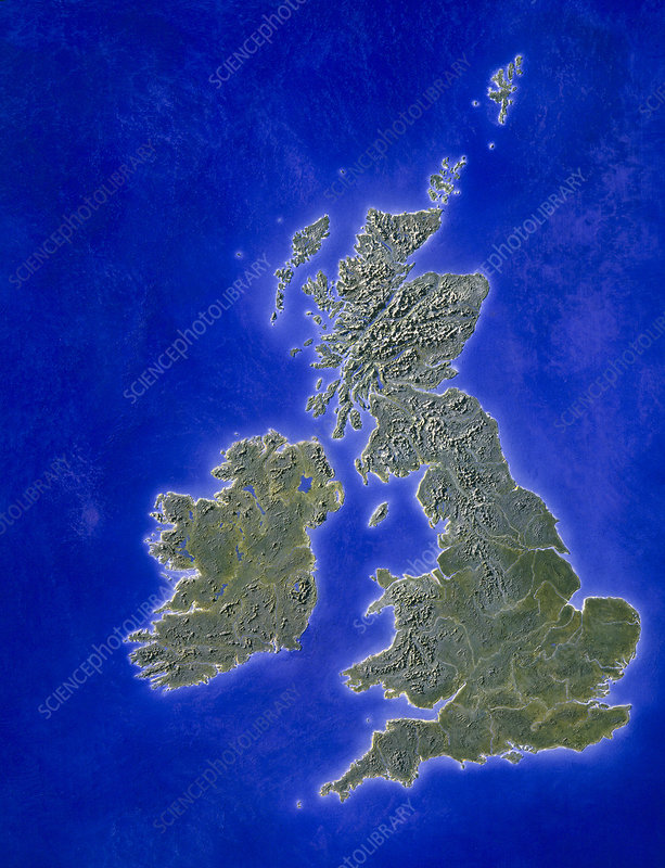 Illustration of a relief map of the British Isles