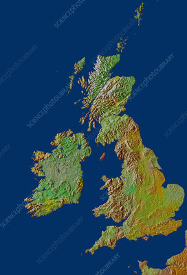 British Isles relief map
