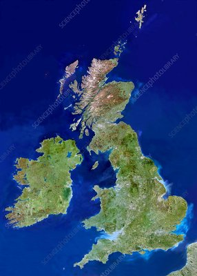 British Isles, satellite image