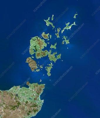 Orkney Islands, satellite image