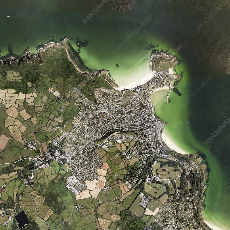 St Ives, Cornwall, UK, aerial view