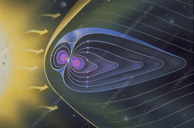 Artwork of the magnetosphere of the Earth