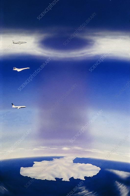 Artwork of ozone hole over Antarctica