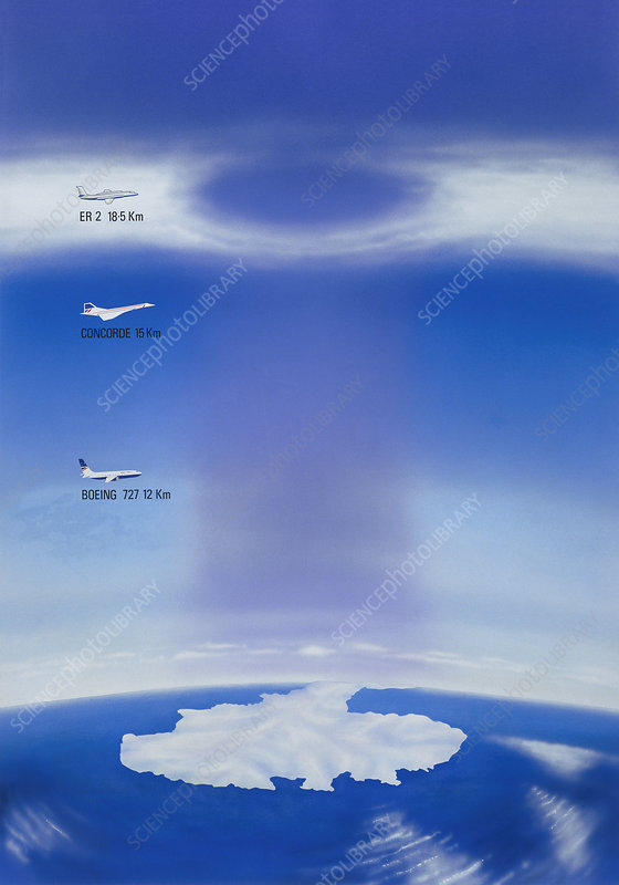 Artwork showing hole in ozone layer