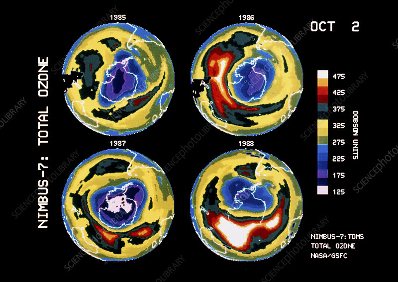 Satellite maps showing variation in the ozone hole