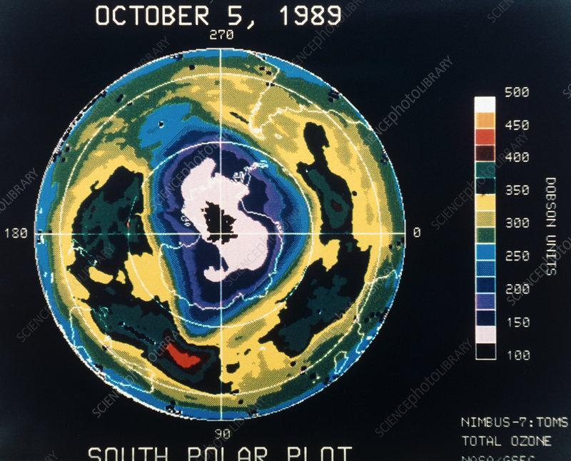 Nimbus 7 TOMS Ozone Map of Antarctica, Oct 5 1989.
