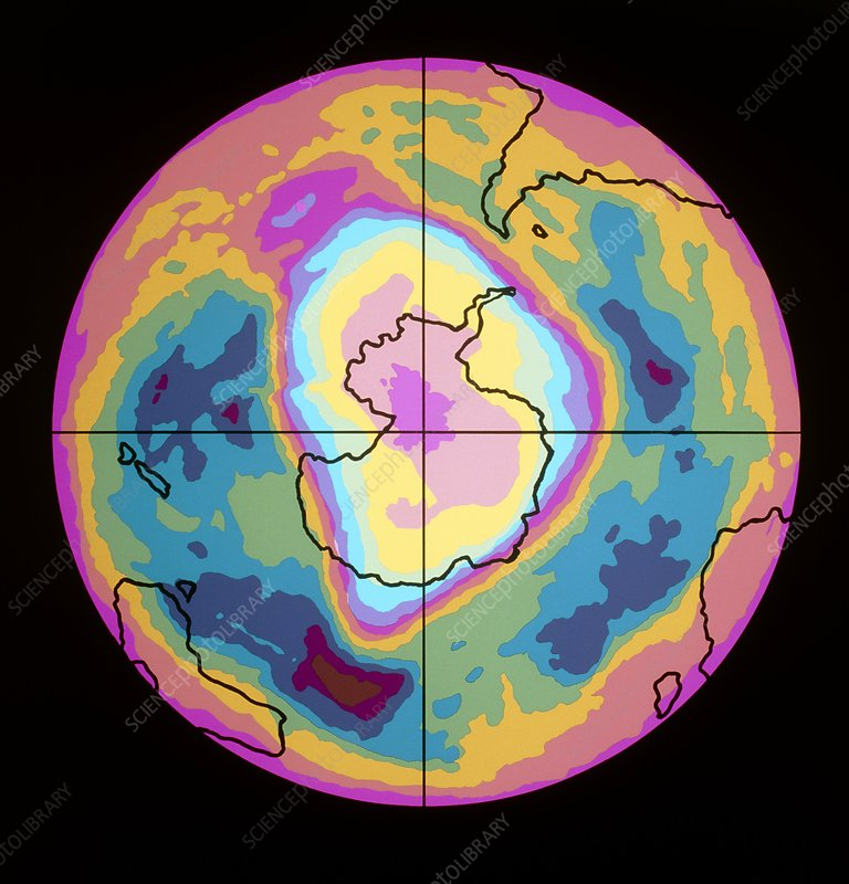 Satellite map of Antarctic ozone hole, 5/10/89