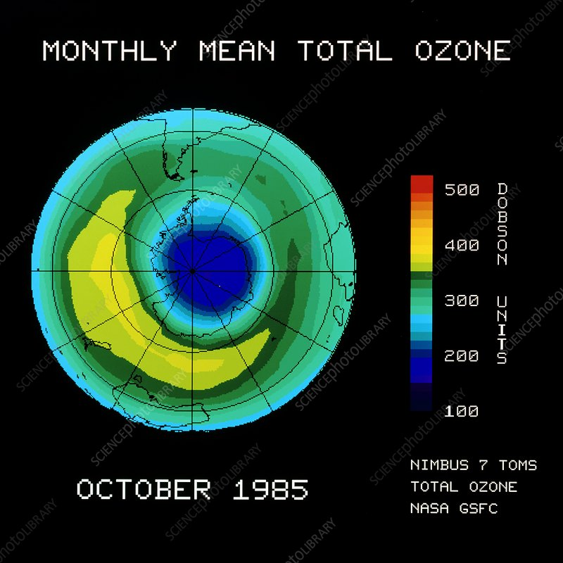 Satellite map of Antarctic upper ozone levels