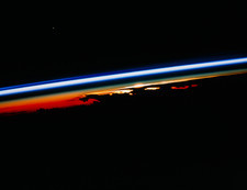 Sunset view of atmosphere seen from orbit, STS-47