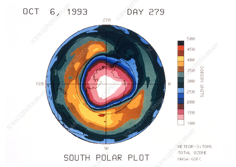 Total ozone map, south polar plot, 6 October 1993