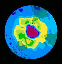 Total ozone map, south polar plot, 8 October 1995