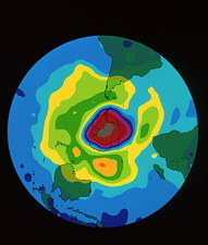 Total ozone map, south polar plot, 6 October 1996