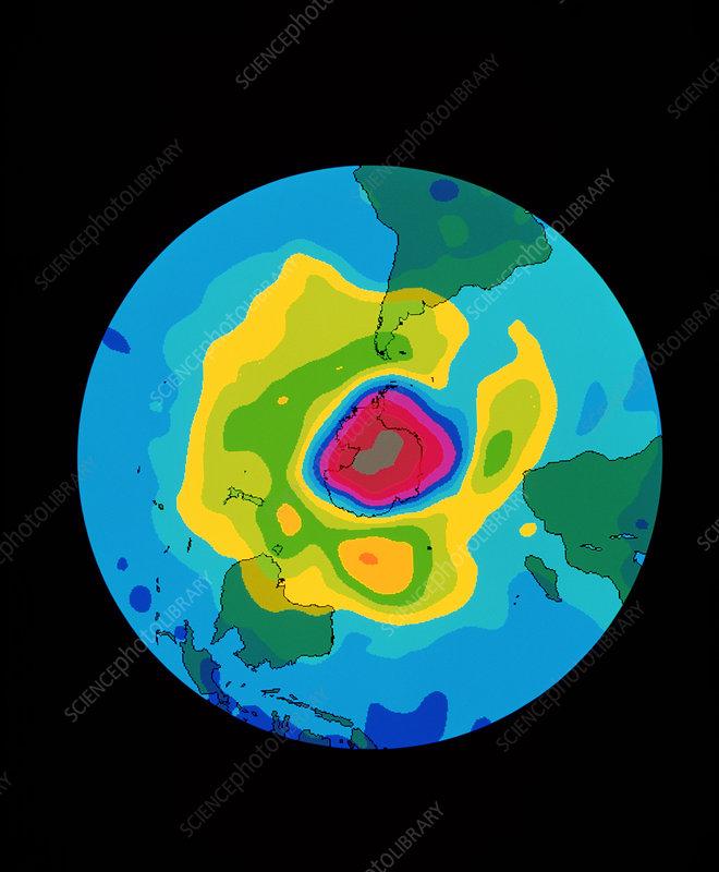 Total ozone map, south polar plot, 6 October 1996