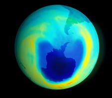 Satellite map of Antarctic ozone depletion, 1999