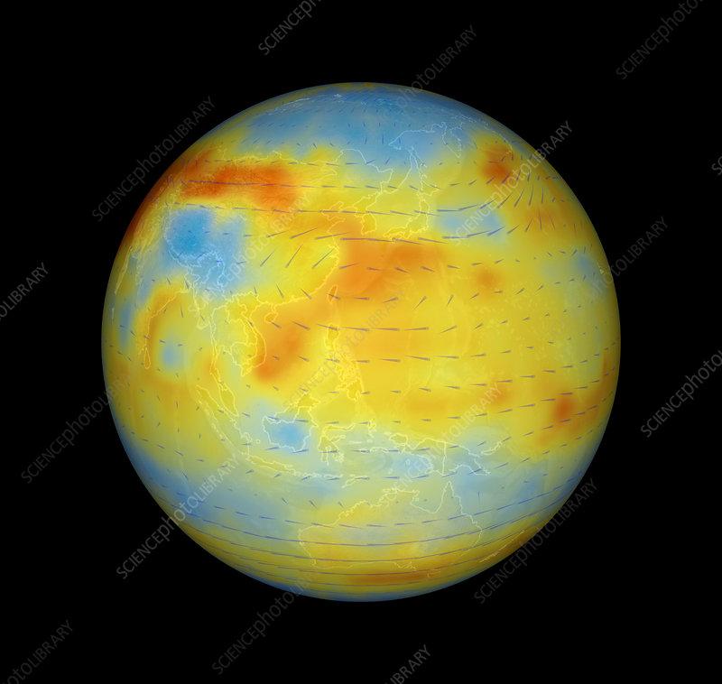 Carbon dioxide levels, west Pacific, 2003