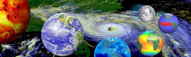 Composite artwork of Earth showing global weather