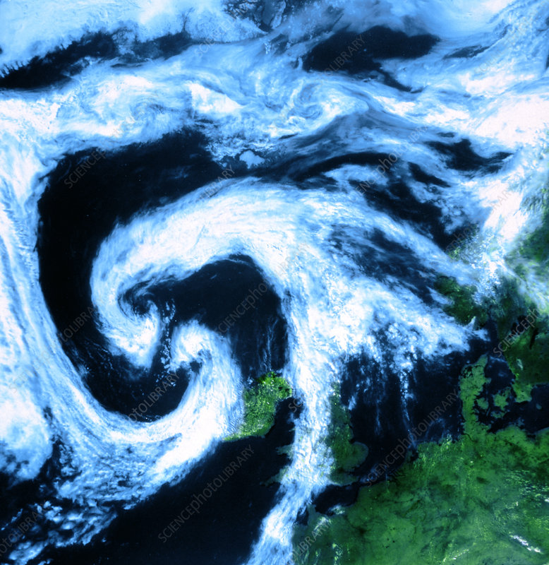 Twin cloud swirls near depression north west Europe