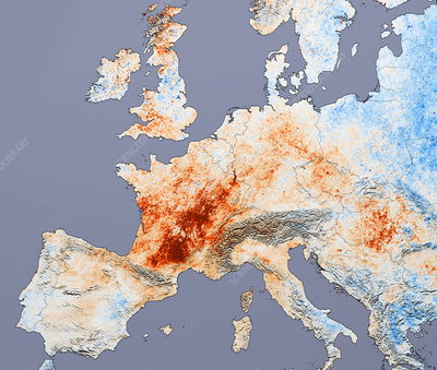 European heatwave 2003, satellite image