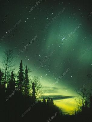 Aurora Borealis or northern lights, with pleiades