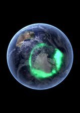Aurora over Antarctica, satellite image