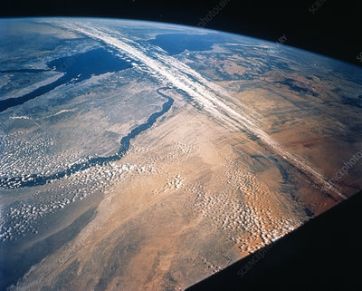 Jet stream clouds over Egypt and the Red