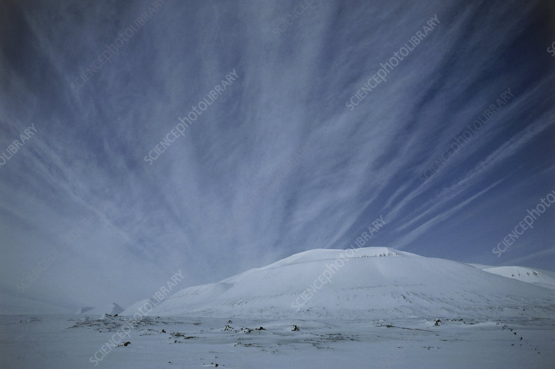 Cirrus clouds streaking the sky over Spitsbergen