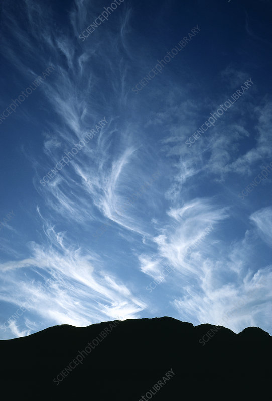 Cirrus clouds over craggy outline of Buckbarrow