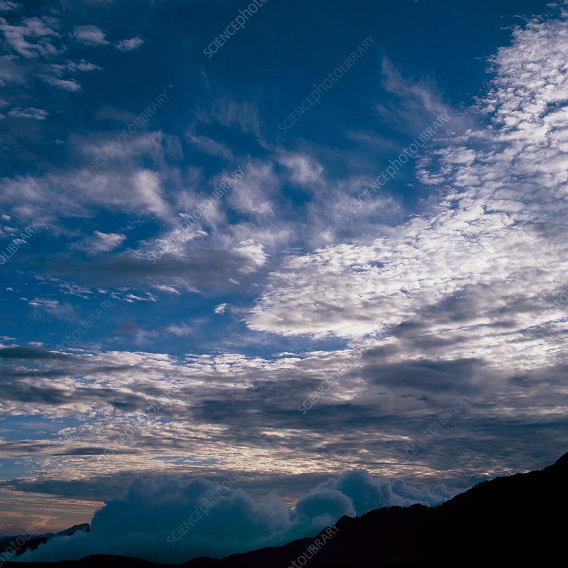 Cirrus, cirrocumulus and cumulus clouds