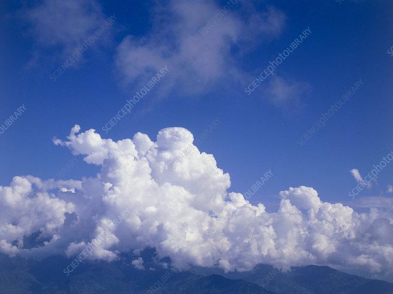 Cumulus and cumulonimbus clouds,