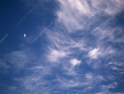 Moon and cirrus clouds, Nepal