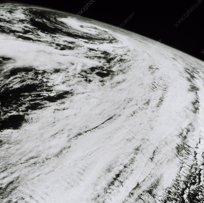 Storm clouds in North Atlantic, from space, 61-A
