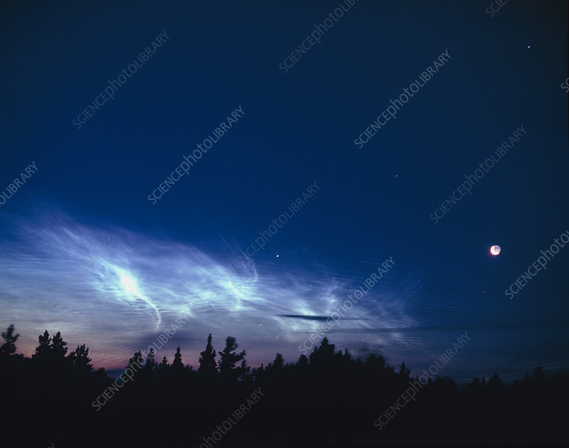 Noctilucent clouds with Moon